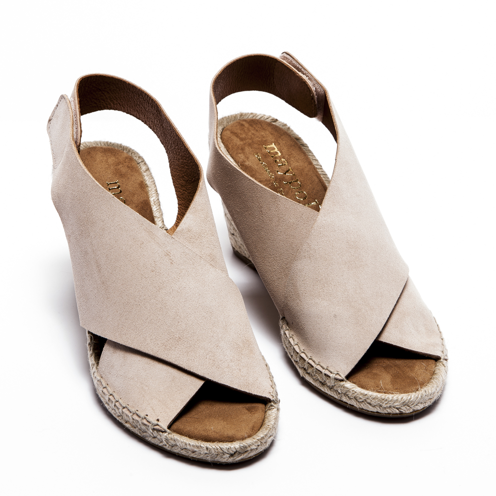 Espadrille Nude Leather Espadrilles - Low Heel | Espadrille
