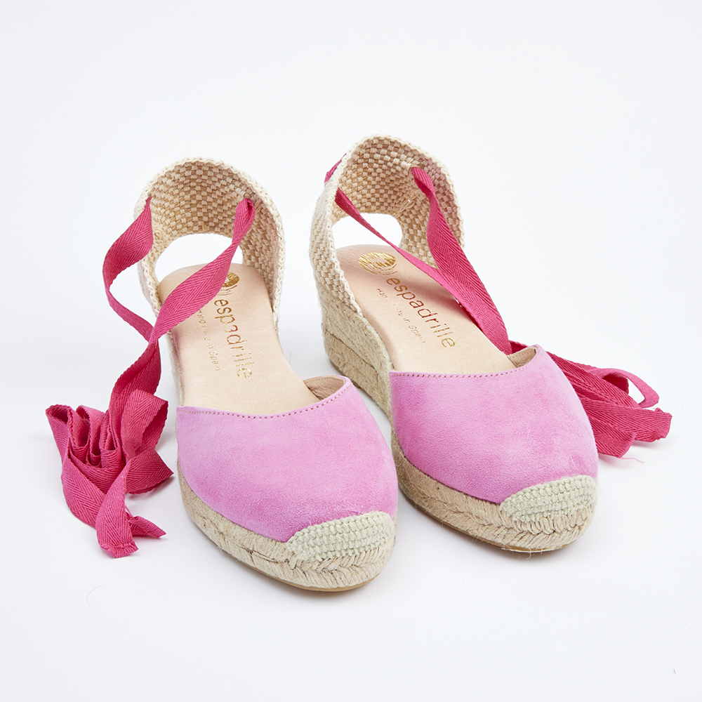 Espadrille Pink Suede Lace Up Wedge