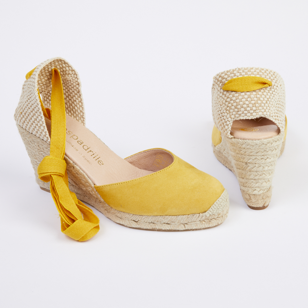 Espadrille Yellow Suede Lace Up