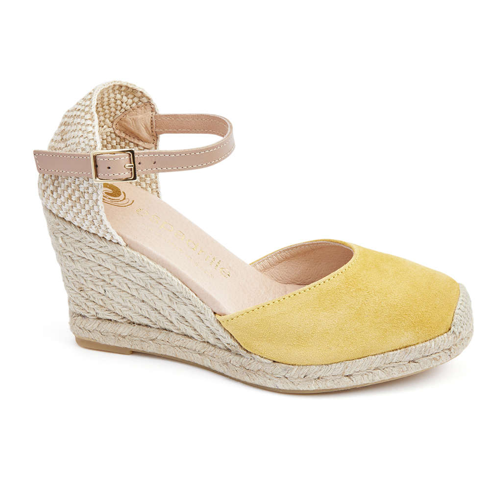 Espadrille Yellow Suede Wedge